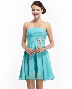 Aqua Blue Strapless Short Chiffon Bridesmaid Dress With ...