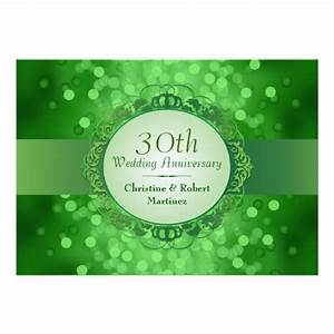 Emerald green bokeh 30th anniversary party 5x7 paper for Color for 30th wedding anniversary