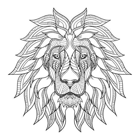 Lion Head With Big Mane Lions Adult Coloring Pages