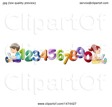 Clipart of School Children with Numbers - Royalty Free ...