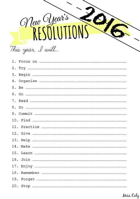 new year resolutions printable kid free free printable new year s resolutions list with prompts m i s s c a l y