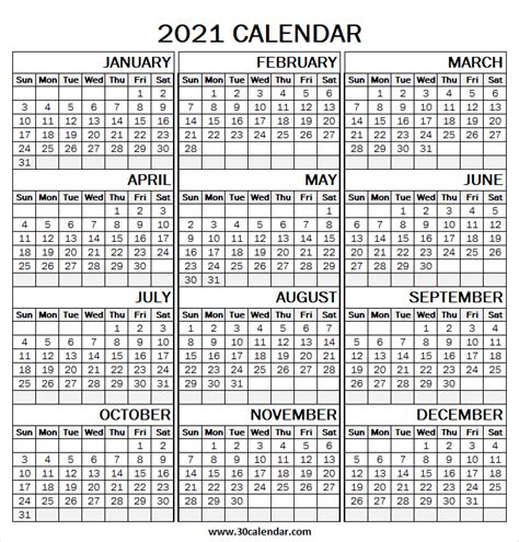large print  calendar template blank yearly calendar
