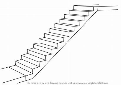 Staircase Draw Step Drawing Stairs Cartoon Drawings