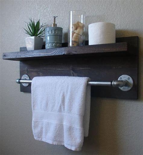 industrial rustic wall mount bathroom shelf   towel
