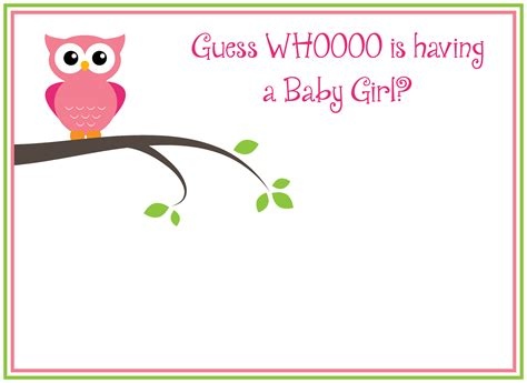 Free Printable Girl's Owl Baby Shower Invitations