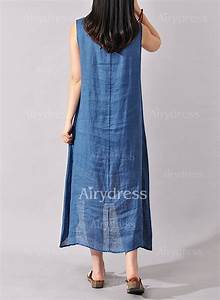 robes style chinoise florale lin sans manches mi longue With robes chinoises longues