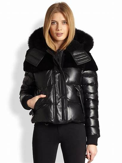 Puffer Jacket Leather Burberry Brit Jet Clothing