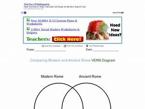 Comparing Modern And Ancient Rome Venn Diagram Graphic