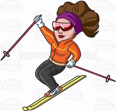 Clipart Skier Female Athlete Cartoon Kayak Down