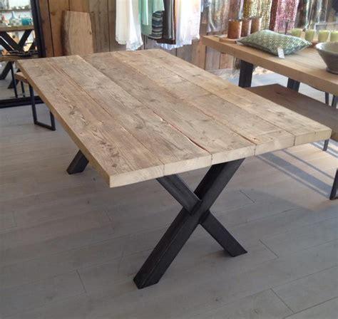 bureau 100 cm industriele eettafel finn houten binnen buitentafel
