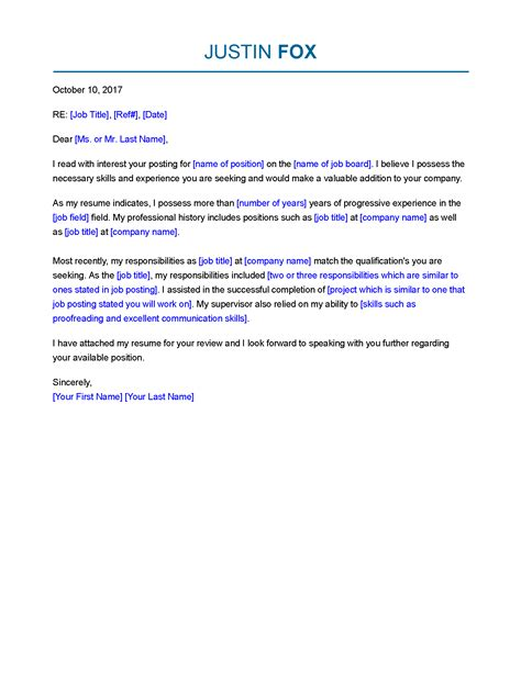 job   professional cover letter templates