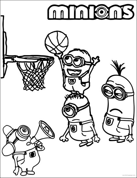 minion playing basketball coloring pages homecoming