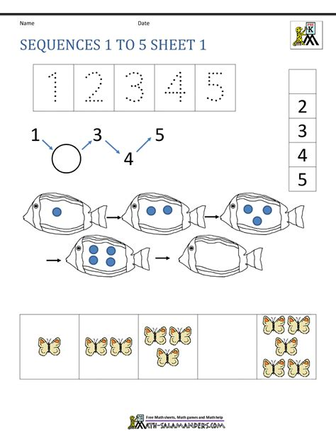 basic counting worksheets sequences 1 to 5 1 mentor