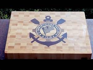"Making ""S C Corinthians Paulista"" end grain cutting board"