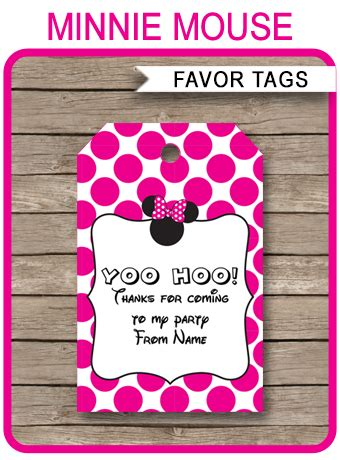 minnie mouse party favor tags   tags birthday