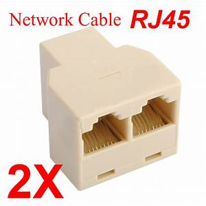2 X New Rj45 Cat 5 6 Lan Ethernet Splitter Connector