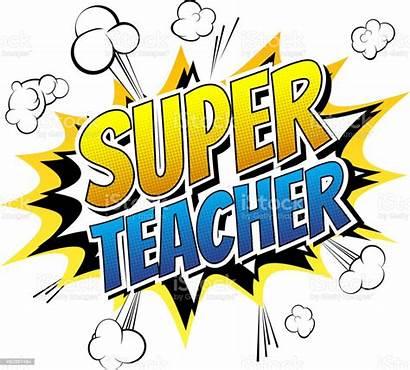 Teacher Super Word Comic Clipart Vector Illustration