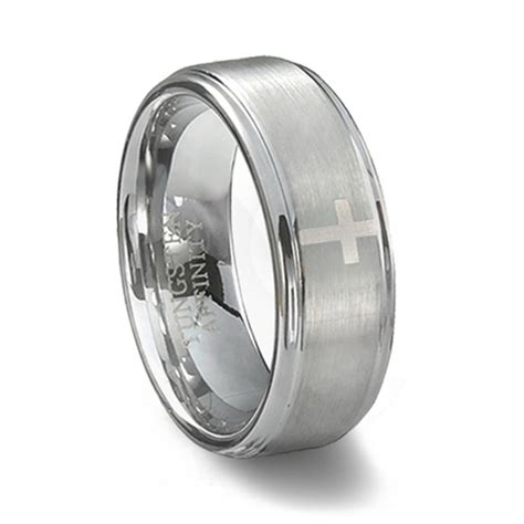 brushed tungsten carbide cross wedding band mens cross ring