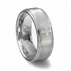 brushed tungsten carbide cross wedding band men39s cross ring With mens wedding rings with crosses