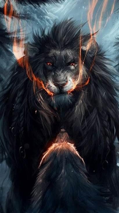 Lion Wolf Iphone Wallpapers Aggressive Dark Fantasy