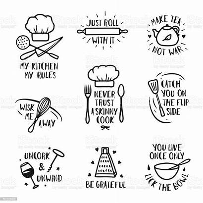 Kitchen Posters Sayings Quotes Vector Cooking Drawn