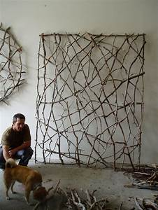 Twig woven wall sculpture by paul schick weaving with