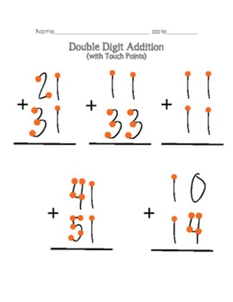 touch math single digit addition worksheet digit addition without regrouping with touch points