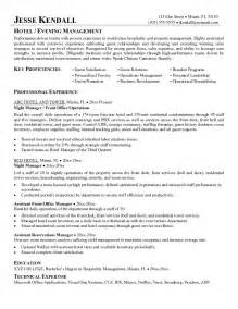 resume objective hotel restaurant management resumes sles free