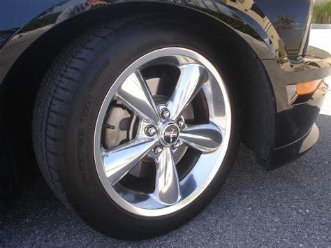 oem  polished bullitt wheels tires  mustang