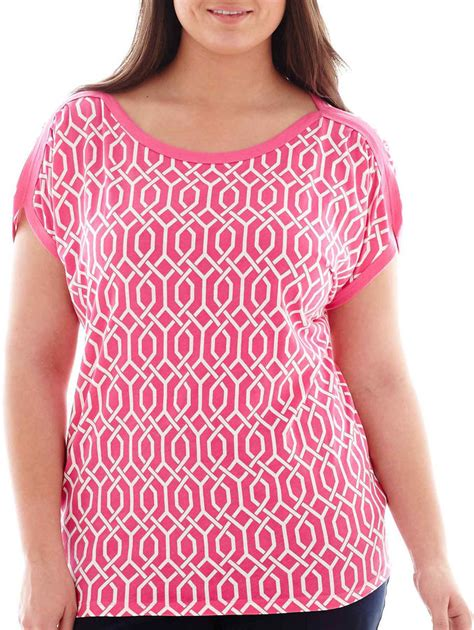 jcpenney plus size blouses jcpenney stylus stylus cap sleeve gathered shoulder t