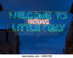 Little Italy Sign neon sign at night located on India