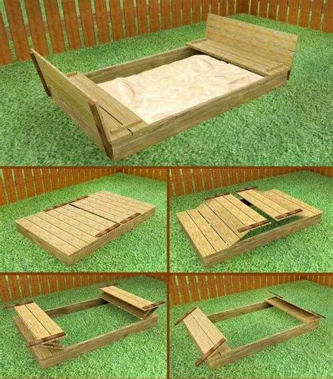 sand box  benches diy sandbox sandbox backyard fun
