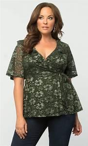 Plus Size Lace Top   Lustrous Lace Wrap Top