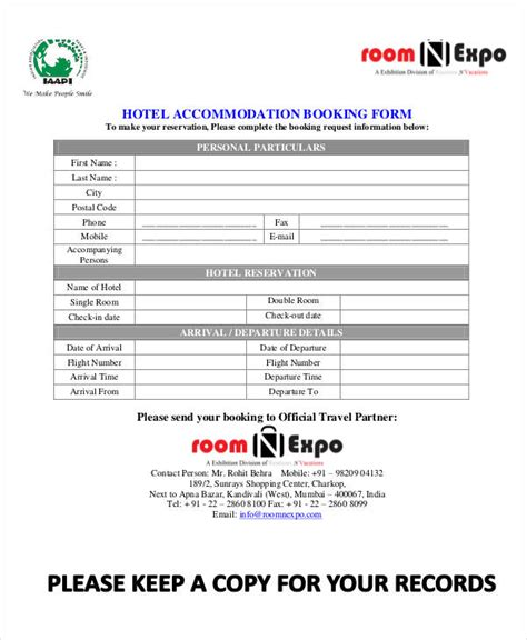 Accommodation Booking Form Template by 31 Reservation Form Templates