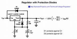 Lm317    Lm338    Lm350 Voltage Regulator Schematic With