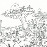 Coloring Adult Worlds Adults Legendary Sheets Colouring Printable Forest Baumhaus Cottages Sky Books Crystal Treehouses Colorear Dibujos Witek Take 방문하기 sketch template
