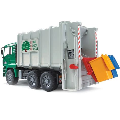 Bruder Toy Garbage Truck Rear Loading Green