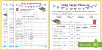 lks2 party budget planning differentiated worksheet worksheets world