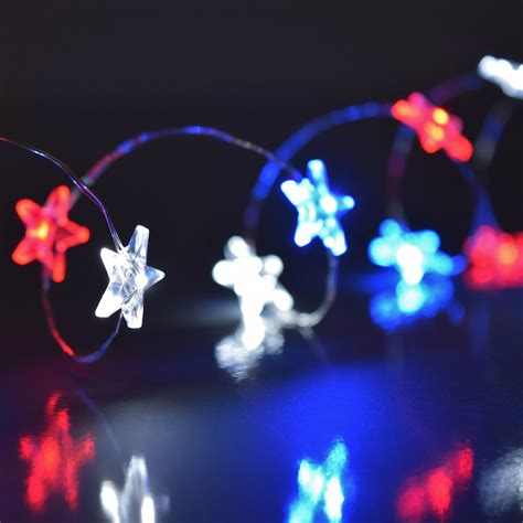 red white blue patriotic mini string lights battery operated