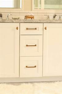 white cabinets with brass hardware transitional With best brand of paint for kitchen cabinets with metal wall art for bathroom