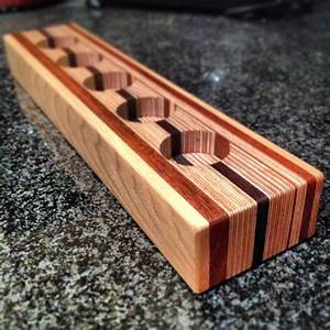 candle holder made form layers of plywood mahogany wenge With kitchen cabinets lowes with homemade candle holder ideas
