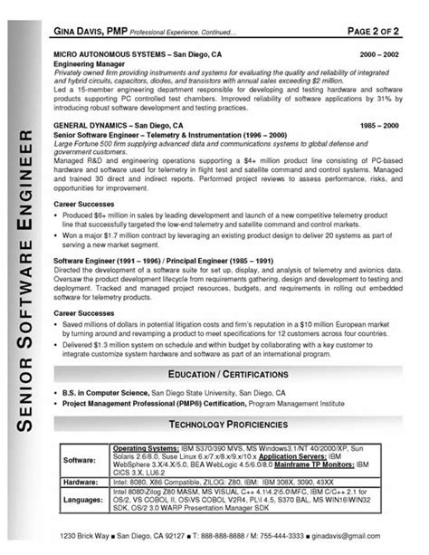 best free software engineer resume sle and career