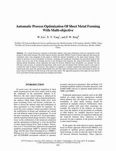 Pdf  Automatic Process Optimization Of Sheet Metal