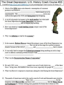 Crash Course Us History #33 (the Great Depression) Worksheet Tpt