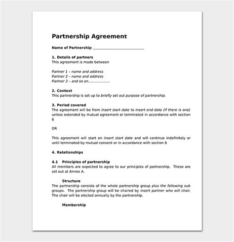partnership agreement template word partnership agreement template 12 agreements for word doc pdf