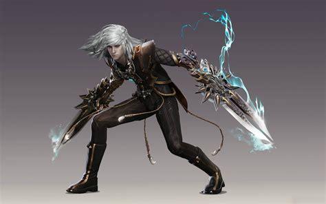 fighter boy blue haired warrior  swords fantasy art
