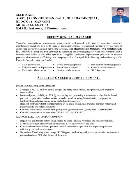 Power Plant Maintenance Resume by Remarkable Power Plant Resume Sle With Mechanical