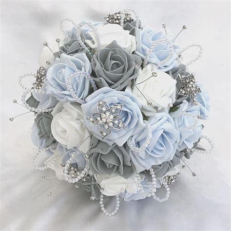 Brides Posy Bouquet Baby Blue White And Grey Roses