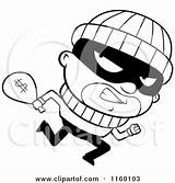 Clipart Running Burglar Cartoon Looking Cash Coloring Carrying Sack Money Bank Robbers Thief Robbery Robber Clip Cory Thoman Vector Outlined sketch template
