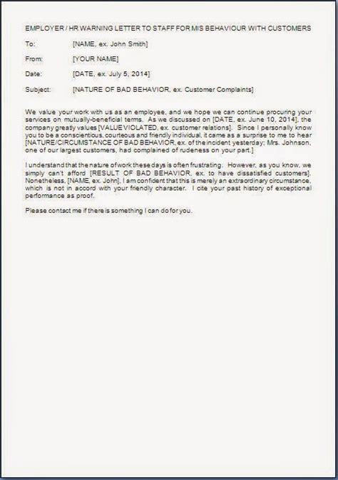 warning letter  employee bad behavior